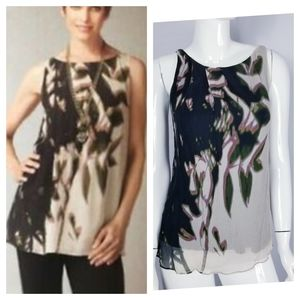 CAbi Silk Tunic Tank Top Printed Sleeveless Sz M